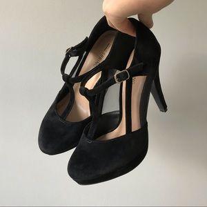 Call It Spring // Velvet Mesh T-Strap High Heels